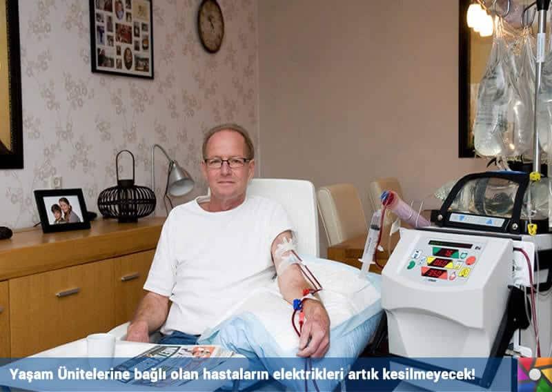 Artık elektrikleri hiç bir zaman kesilmeyecek! Yaşam Ünitesine bağlı hastalar için geçerli.