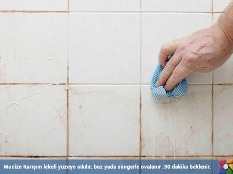 Evde Fayans Temizliği Kabusunuz Olmasın | Lekeli yüzeye mucize karışım sıkılması ve ovulması